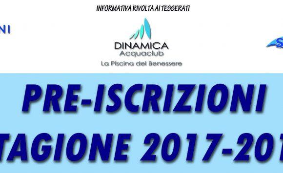 Pre-iscrizioni Stagione 2017-2018